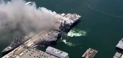 Pożar na okręcie USS Bonhomme Richard (LHD-6), który jest okrętem desantowym typu Wasp. / Zdjęcie: /EPA/SAN DIEGO FIRE DEPARTMENT