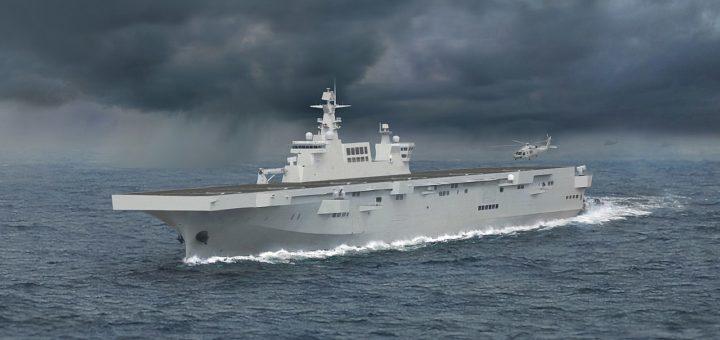 Artystyczna impresja okrętu desantowo-desantowego Typ 075. / Grafika: wikimedia.org